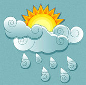 Vector weather icons in retro style. Sun behind the clouds and r — Stock Vector
