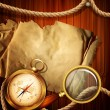 Vector vintage background with compass, magnifying glass, parchm — Vector de stock