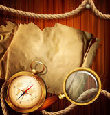 Vector vintage background with compass, magnifying glass, parchm — Vettoriale Stock