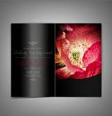 Black, elegant, vector brochure with red poppies — Stock Vector