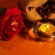 Background with candles and rose — Stock Photo #24966785