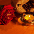 Background with candles and rose — Stock Photo