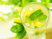 A glass water with lemon and mint — Stock Photo