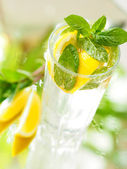 A glass of mineral water with lemon and mint — Stock Photo