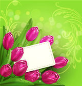 Vector congratulatory background of tulips and card — Stock Vector