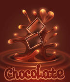 Vector background with chocolate pieces falling into melted chocolate — Wektor stockowy