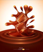 Vector background with chocolate pieces falling into melted chocolate — Stock vektor