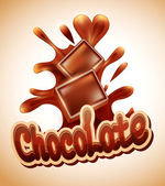 Vector background with chocolate pieces falling into melted chocolate — Vecteur
