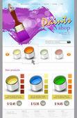 Oficina de pintura de modelo de site de vetor — Vetor de Stock