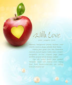 Red apple with carved heart — Vector de stock