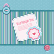 Vector striped background, with a button, card, heart and flower — Stock Vector #5901524