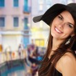 Stock Photo: Summer teen girl cheerful in panama