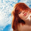 Summer teen girl beautiful freckles redheaded — Stock Photo #21483363