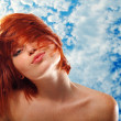 Summer teen girl beautiful freckles redheaded — Stock Photo