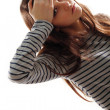 Stock Photo: Teen girl with headache and high temperature