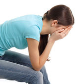 Depression teen girl cried — Stock Photo