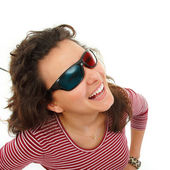 Teen girl happy with 3d glasses isolated on white — Stock Photo