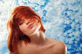Summer teen girl beautiful freckles redheaded — Stock Photo