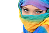 Woman face closeup with shawl — Stock Photo