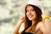 Summer young woman cheerful in panama enjoying isolated on white — Stock Photo