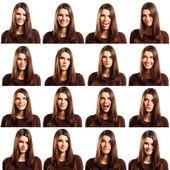 Tiener meisje grijnzende set geïsoleerd op wit — Stockfoto