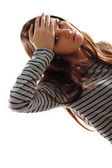 Teen girl with headache and high temperature — Stock Photo