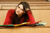 Student teen girl beautifyl tired in empty classroom — Stock Photo