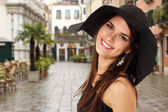 Summer teen girl cheerful in panama — Stock Photo