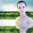 Woman young beautiful swimming river over morning sunrise nature — Stock Photo #21708609