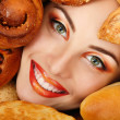 Stock Photo: Wombeauty face with bread bun patty baking food