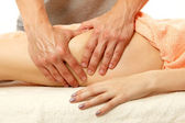 Masseur makes anticellulite massage young woman isolated on whit — Stock Photo