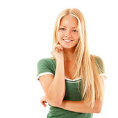 Teen girl beautiful cheerful enjoying isolated on white — Stock Photo