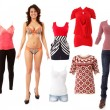 Stock Photo: Woman beautiful fashion clothes collection