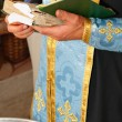 Bible in hands of holy father — Stock Photo