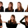 Collection of portraitsd of emotional attractive blond teen girl — Stock Photo