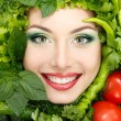 Greens vegetables frame woman beauty face — Stock Photo