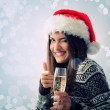 Woman christmas young beautiful smiling with glass of champagne — Стоковая фотография