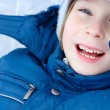 Boy little have fun winter outdoor — Foto Stock