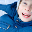 Boy little have fun winter outdoor — Stockfoto
