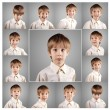 Boy little emotional attractive set make faces — Zdjęcie stockowe