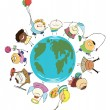 Earth globe of happy children — Stock Photo