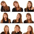 Teen girl emotional attractive set make faces — Stock Photo #33513961