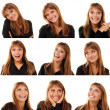 Teen girl emotional attractive set make faces — Stock Photo