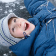 Boy little have fun winter outdoor on skating-rink — Stock Photo