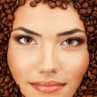 Coffee woman beauty face beautiful make-up — Stock Photo