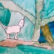 Funny cat walking in forest childish drawing art  — Stock Photo