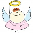 Foto Stock: Angel girl sweetie child happy smiling with wings - cartoon people vector illustration