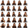 Teen girl attractive set make faces isolated on white — Stock Photo #33515437