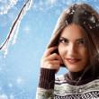 Christmas teen girl attractive — Stock Photo