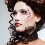 Woman beautiful halloween vampire baroque aristocrat — Stock Photo #33518723